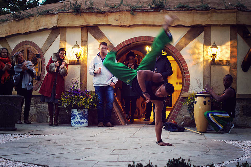 Capoeira masters entertain guest at the launch of Oastbrook Estate sparkling wine from Sussex