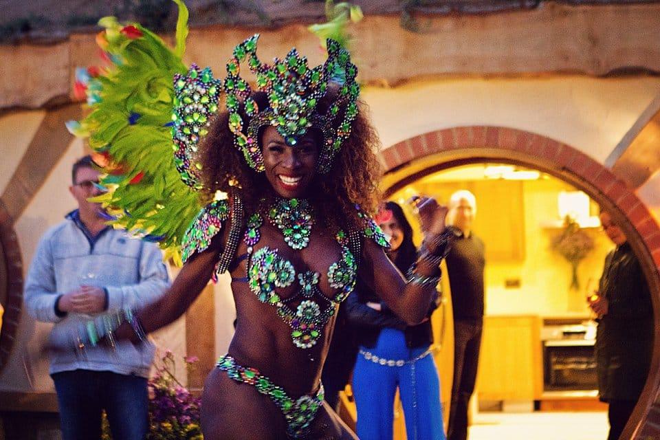 Brazilian dancer Elisangela Mahogany entertains guests with Samba at the Oastbrook launch